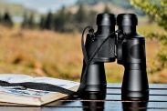 binoculars and field guide