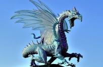 blue dragon facing right