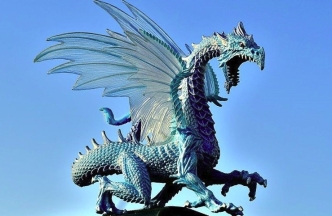 blue dragon facing right