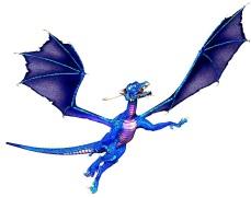 flying blue dragon facing right