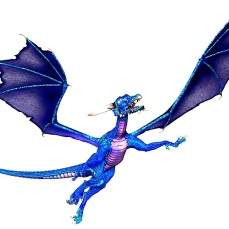 flying blue dragon facing right