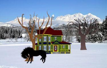 Black stallion rubbing against tree in snow