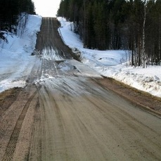 dirt road with snow