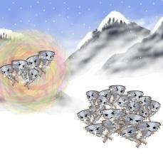 Snow devils on mountain