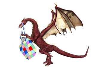 Dragon holding dwarf