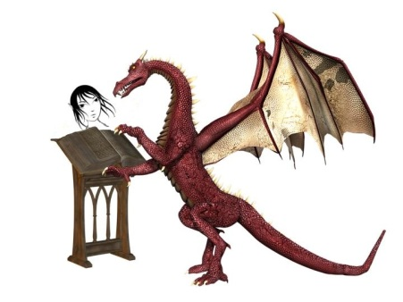 Dragon reading to Cleric
