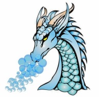 Dragon with smoke bubbles