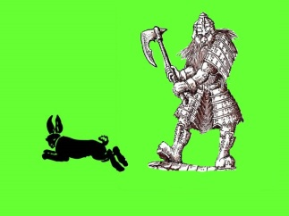 Dwarf and rabbit