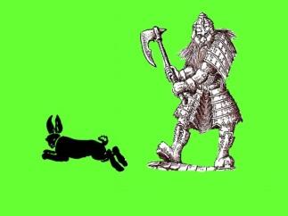 Dwarf and rabbit