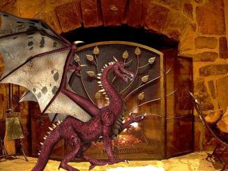 Dragon looks up from fireplace