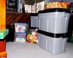 lugged some large plastic bins