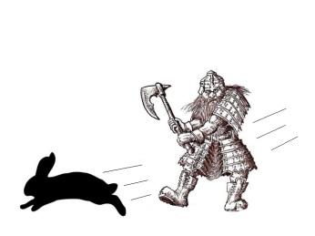 Dwarf chasing rabbit