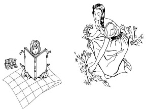 Marisol and Bastina in garden