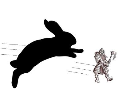 Rabbit chasing dwarf