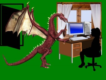 Dragon and me in office