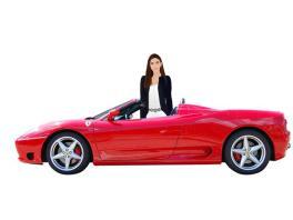 Talia in sports car