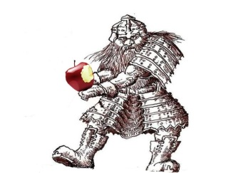 Dwarf with apple