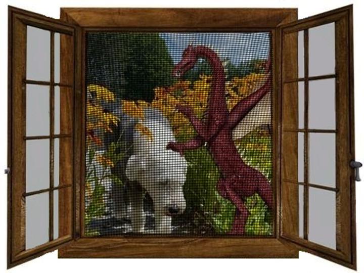 Dragon carressing Ollie seen through screen 2