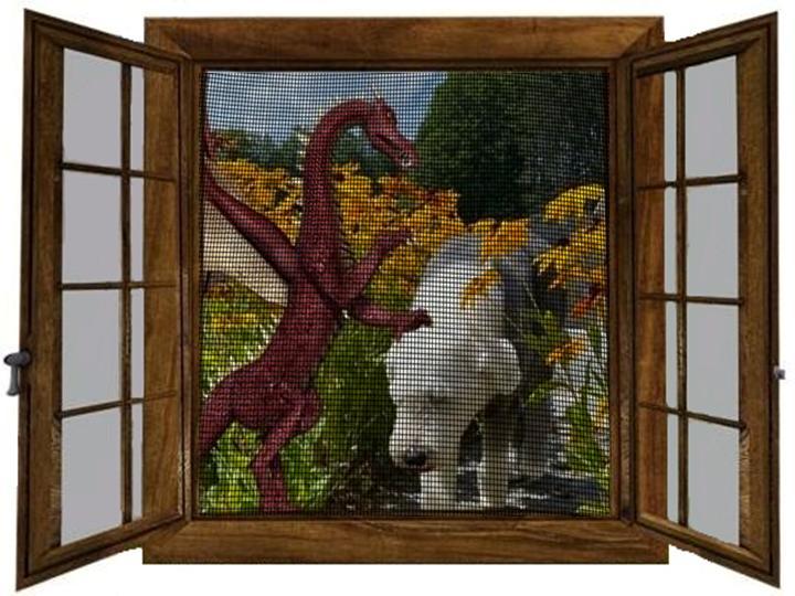 Dragon carressing Ollie seen through screen