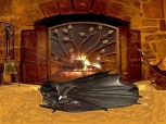 Dragon in front of fireplace
