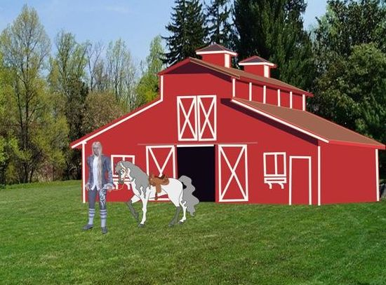 AO leading pony from barn