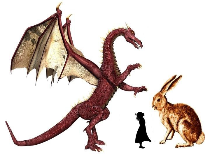 Rabbit, Marisol and dragon