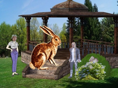 Six-foot-tall rabbit on gazebo